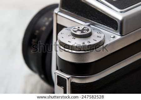 Detail of classic analog medium format camera - stock photo