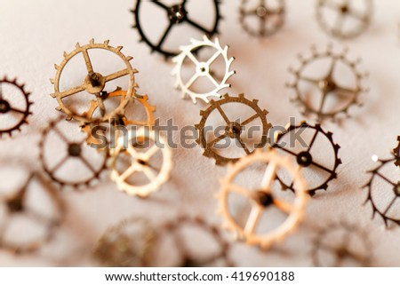 Detail of clock parts for restoration - close up photo - stock photo