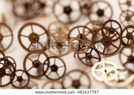 Detail of clock parts for restoration - close up photo