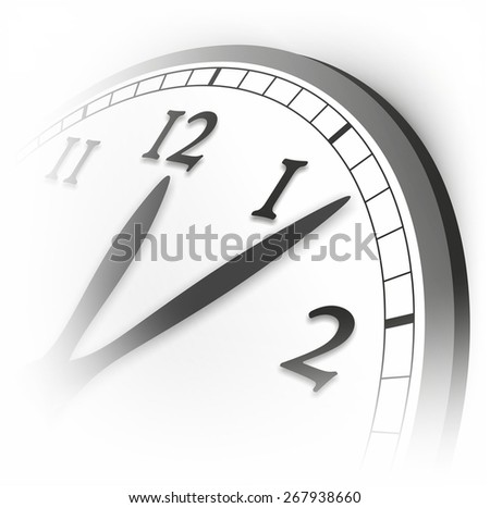 detail of clock with watch hands indicating five past twelve - stock photo