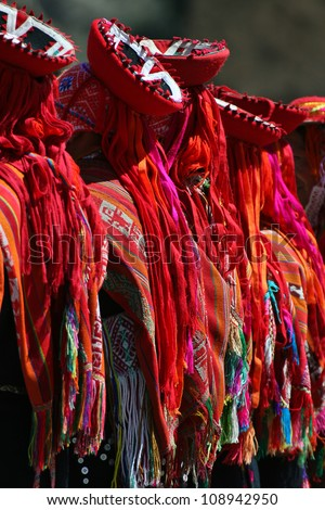 Detail of clothes of Andean dancers - stock photo