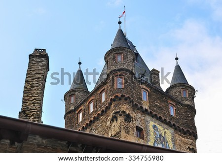 detail of Cochem castle main tower