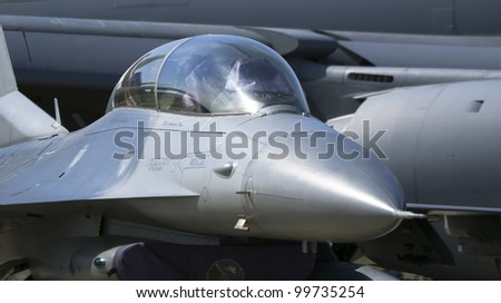 detail of Cockpit military Jet - stock photo