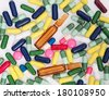 Detail of colorful medicine pills - stock photo