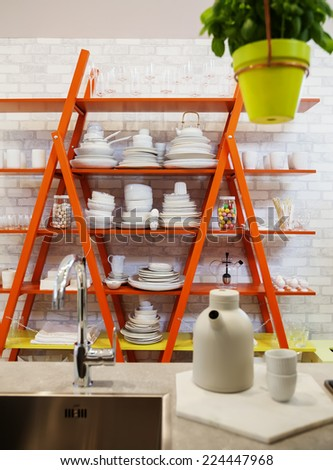 detail of contemporary kitchen  - stock photo