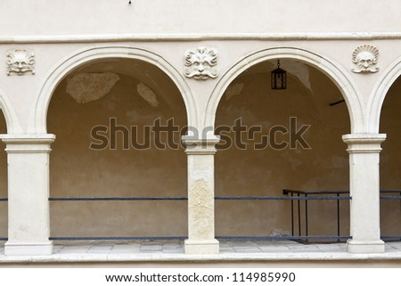 Detail of courtyard in Pieskowa Skala - Poland. - stock photo