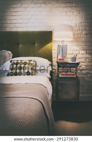 detail of cozy home bedroom , interior - stock photo