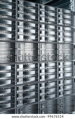 detail of data center with hard drives - stock photo