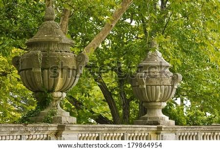 Detail of decorative ornaments fence Massandra Palace. - stock photo