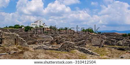 detail of destroyed fortification of former italian city pompeii. - stock photo
