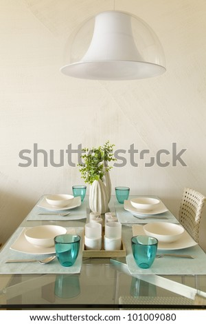 Detail of dinning table - stock photo