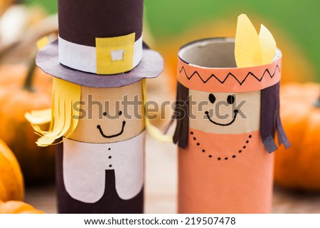 Detail of DIY decorations - pilgrim and Indian. - stock photo