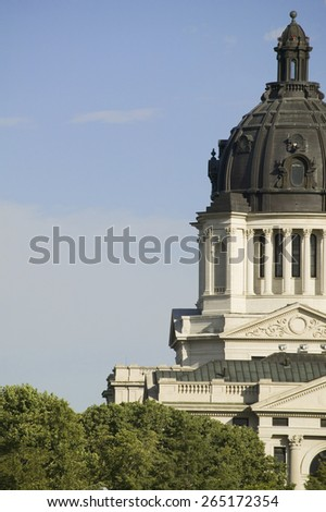 Detail of dome of South Dakota State Capitol and complex, Pierre, South Dakota, built between 1905 and 1910 - stock photo