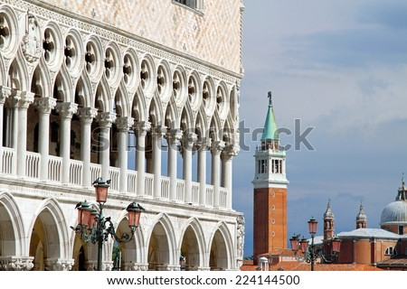 detail of Ducal Palace and St. George Church in venice - stock photo