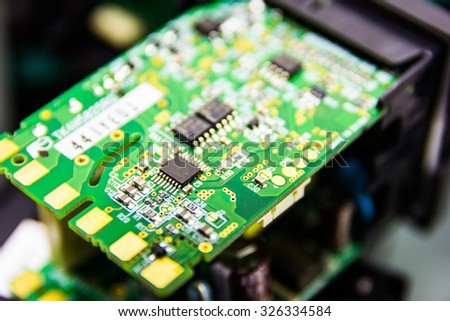 Detail of electronic board ,Macro with extremely shallow dof. - stock photo