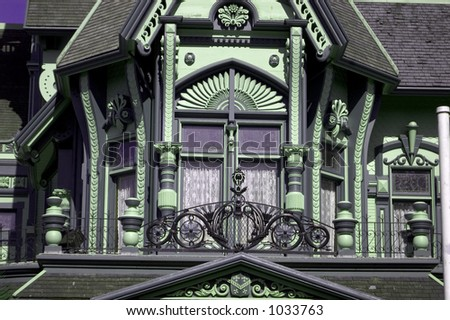 detail of elegant example of Queen Anne architecture. - stock photo