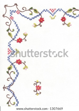 Detail of embroidered table cloth