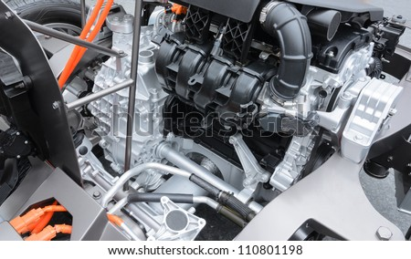 Detail of engine of electric car - stock photo