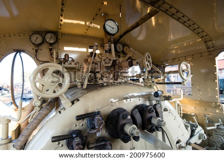 Detail of engine room on the steam locomotive  - stock photo