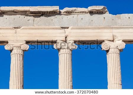 Detail of Erechtheion in Acropolis of Athens, Greece - stock photo