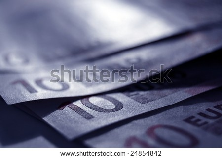 Detail of European Union banknotes in silver blue - stock photo