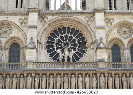 Detail of  facade of the church Notre Dame of Paris - France - stock photo