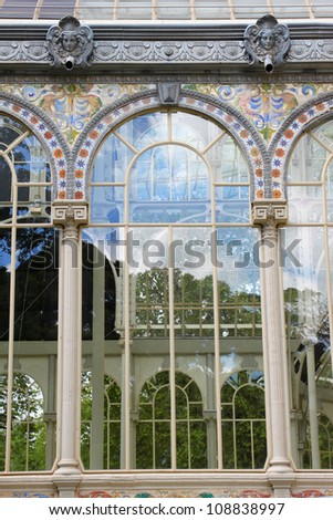 Detail of famous crystal palace in Retiro park in Madrid, Spain