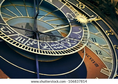 Detail of famous old medieval astronomical clock in Prague, Czech Republic - stock photo