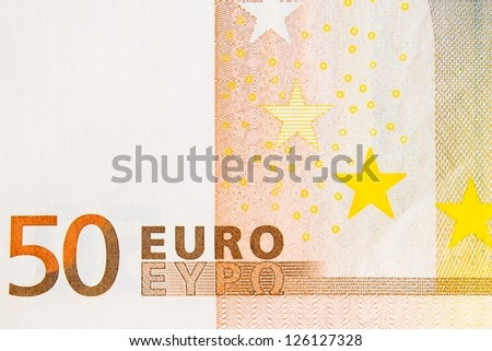 detail of fifty euro banknote - stock photo