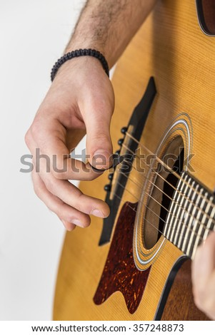 detail of fingers, string and hand of guitar player