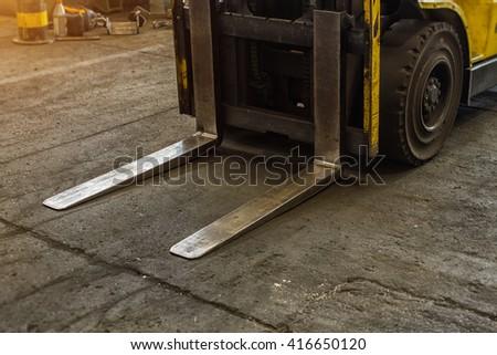detail of forklift - stock photo