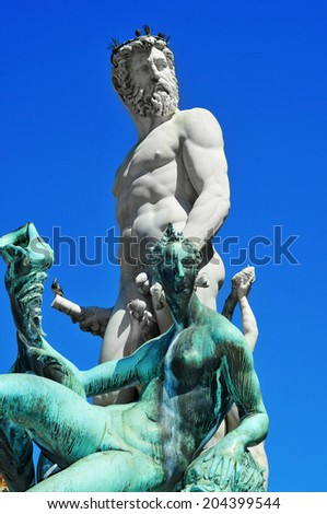 detail of Fountain of Neptune located in Piazza della Signoria in Florence, Italy - stock photo