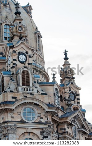 detail of Frauenkirche Church (Church Of Our Lady) in Dresden, Germany - stock photo