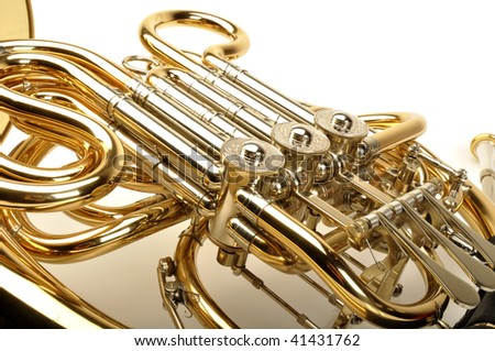Detail of French Horn on white background