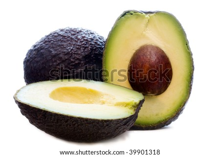 detail of fresh avocado and natural open - stock photo