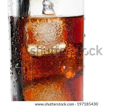 detail of fresh coke with black straw on white background, summer time - stock photo