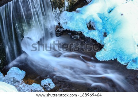 Detail of frozen brook - small waterfall, blue ice, stone, icicles and milky stream