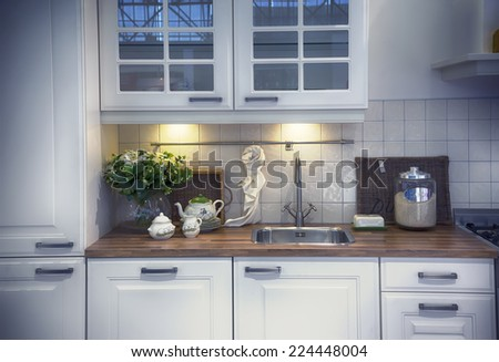detail of furniture of home kitchen  - stock photo