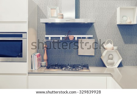 detail of furniture of home kitchen