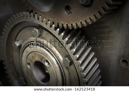 Detail of gear wheels inside motor