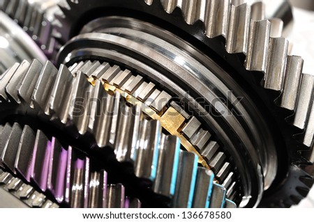 Detail of gearbox gears. - stock photo