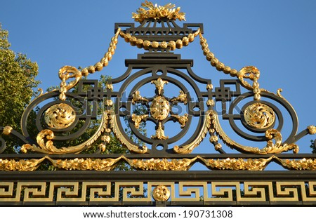 Detail of gilded lattice of Summer Garden, St.Petersburg, Russia.