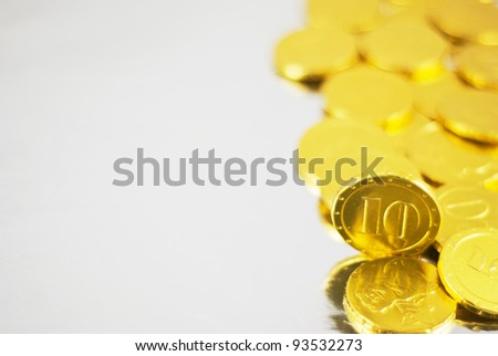 Detail of gold chocolate coins set - stock photo