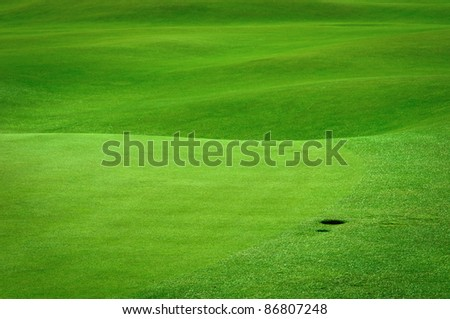 Detail of golf field with a ball hole - stock photo