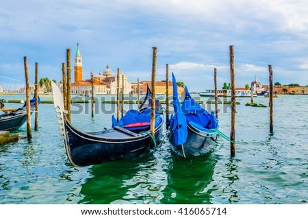 Detail of gondolas anchoring near piazza san marco in italian city venice - stock photo