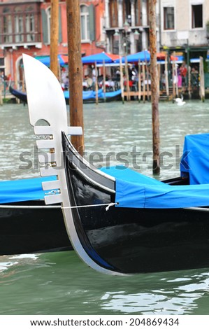 Detail of gondolas by Grand Canal in Venice, Italy