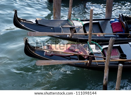 Detail of gondolas in Venice, Italy
