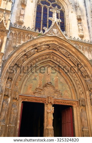 Detail of Gothic architecture on the facade of a church in Aix-en-Provence, France - stock photo