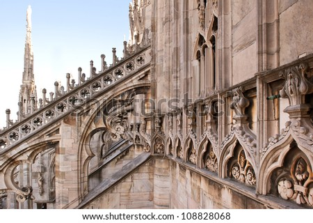 Detail of gothic cathedral of Milan. Italy. - stock photo