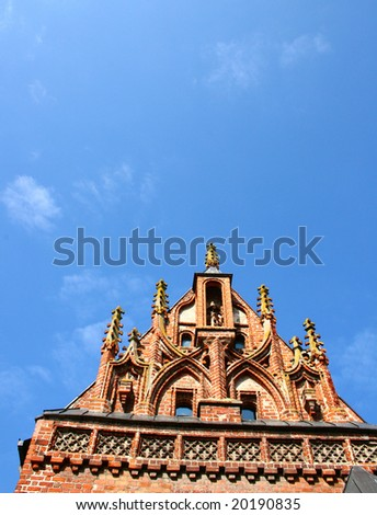 detail of Gothic style building in Kaunas, Lithuania.